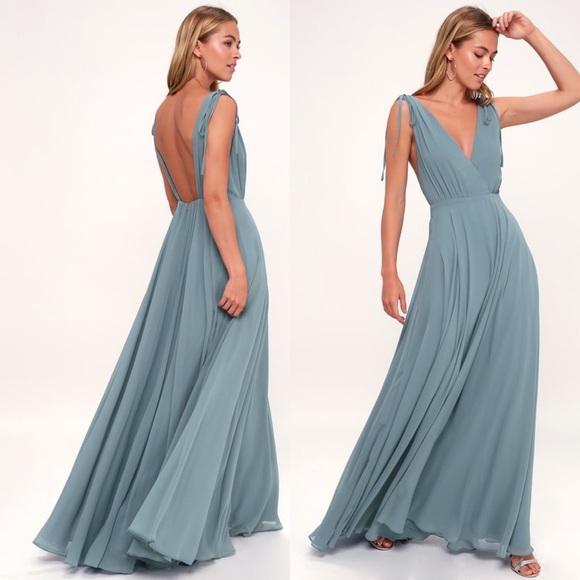 Lulu's Dresses & Skirts - Lulu's Dance the Night Away Slate Blue Maxi